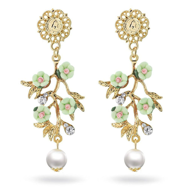 Green Pearl Flowers Branch Dangle Earrings