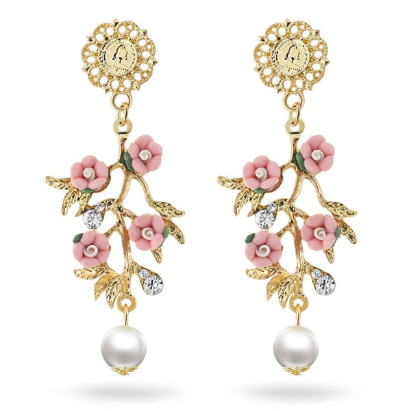 Pink Pearl Flowers Branch Dangle Earrings