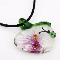 Pink Apple & Ladybug Lampwork Glass Pendant Necklace