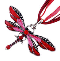 Red Dragonfly Charm Rhinestone Pendant Necklace