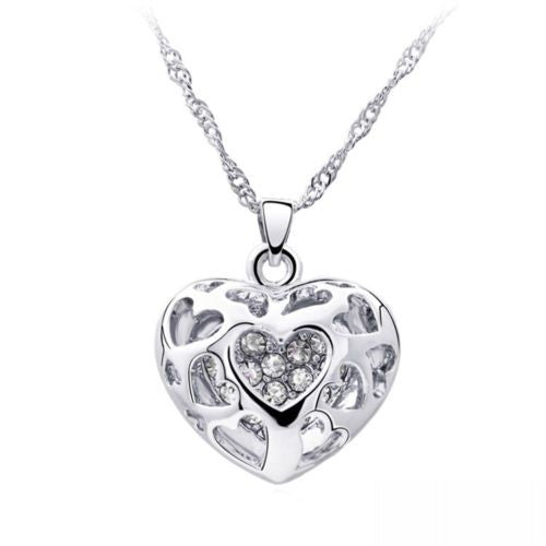 Silver Heart Rhinestone Pendant Necklace