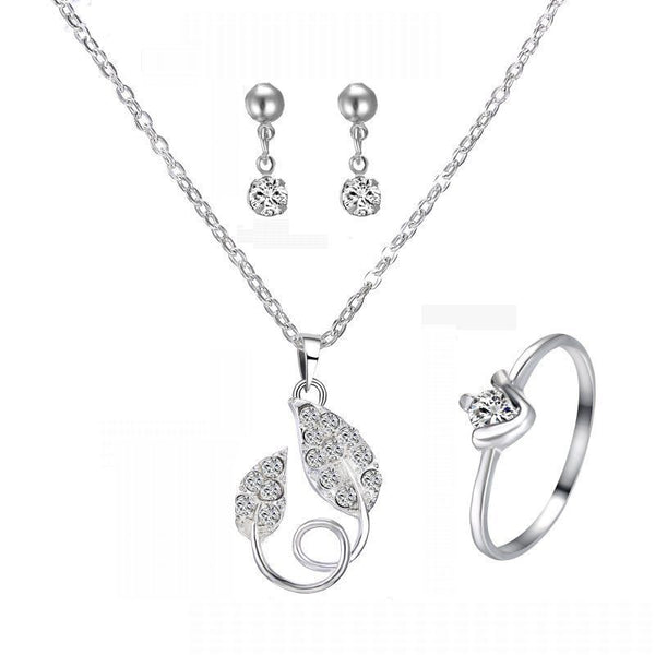 Silver Leaf Pendant Necklace & Ring & Earrings Set