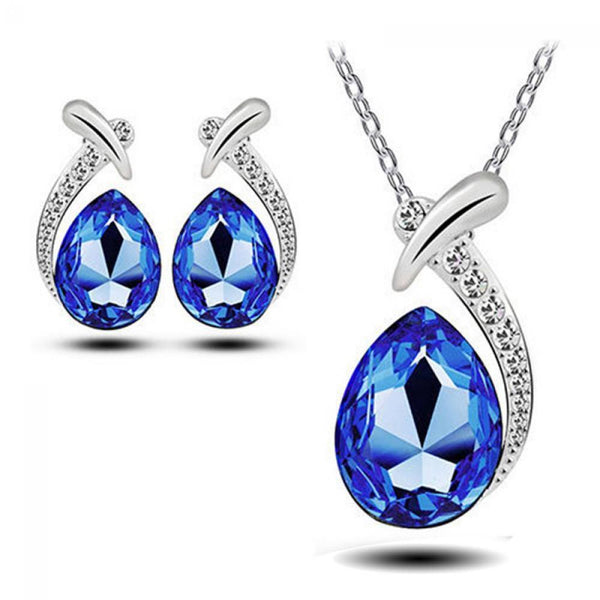 Blue Rhinestone Necklace & Earrings Set