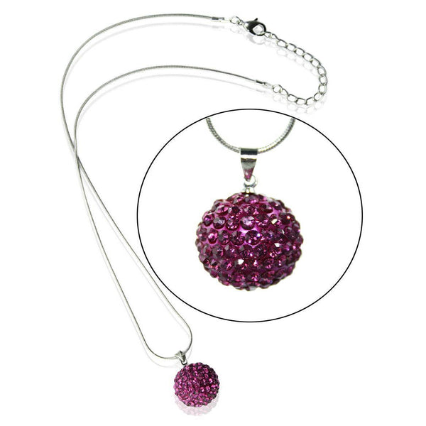 Shamballa Dark Pink Disco Ball Necklace