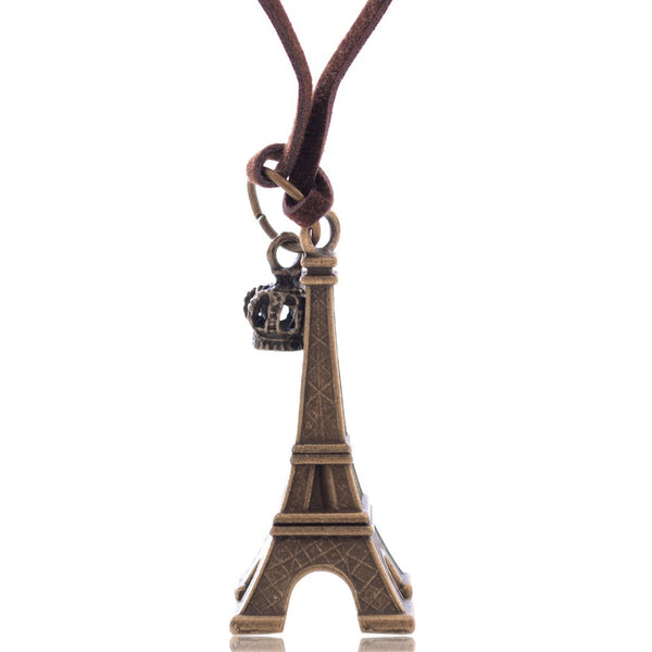 Eiffel Tower & Crown Pendant Necklace