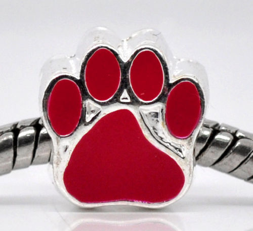 Red Paw Charm Bead
