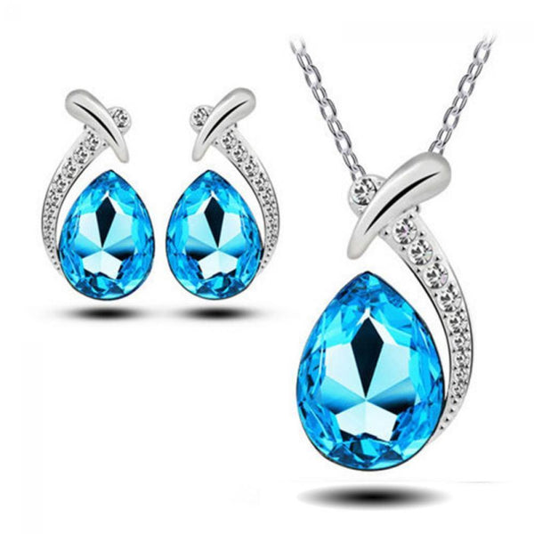 Sea Blue Rhinestone Necklace & Earrings Set