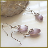 Cats Eye Wire Wrapped Earrings