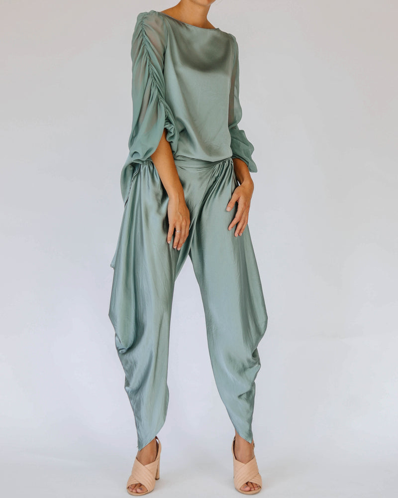 Etsu Silk Pant in Teal