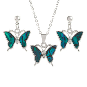 Butterfly Necklace & Earrings Set Blue