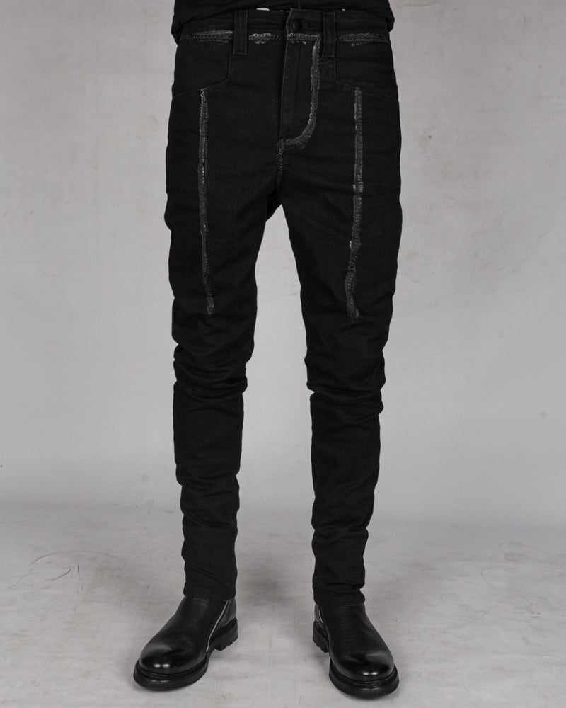 10R:son - B1001PS - Painted stitched denim trouses - Stilett.com