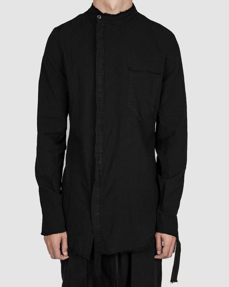 Army of me - Mandarin collar cotton shirt black - Stilett.com