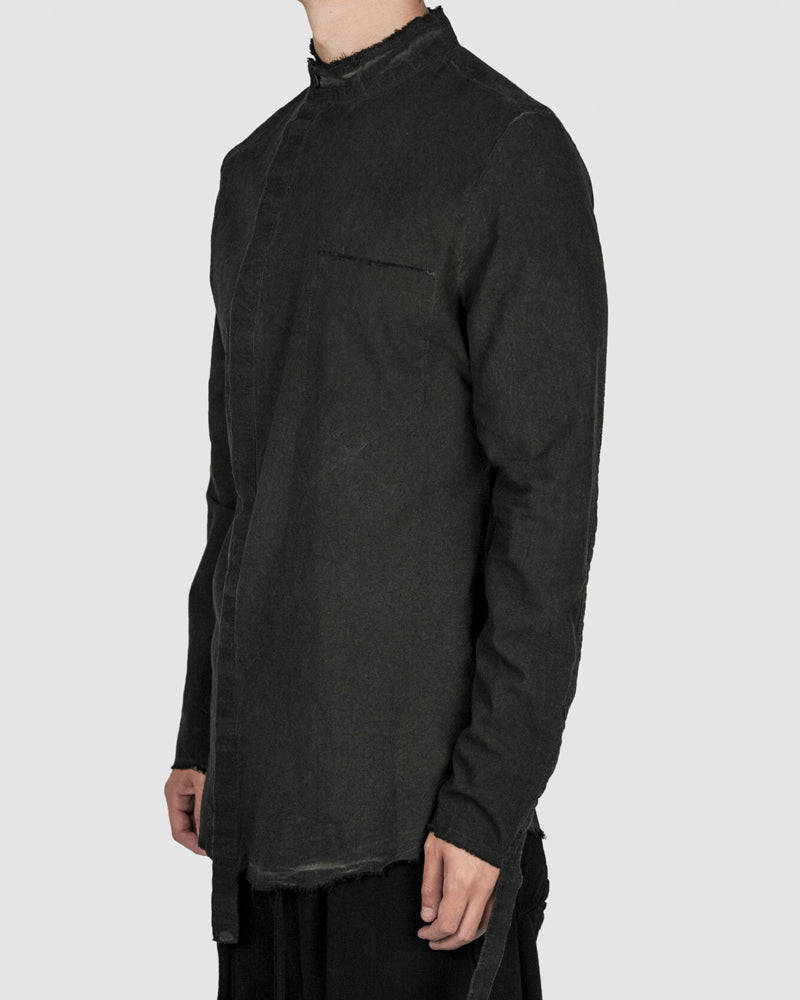 Army of me - Mandarin collar cotton shirt graphite - Stilett.com