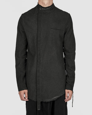 Army of me - Mandarin collar cotton shirt graphite - https://stilett.com/