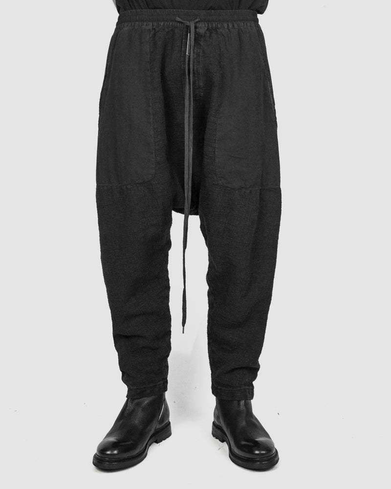Army of me - Paneled drop crotch trousers graphite - https://stilett.com/