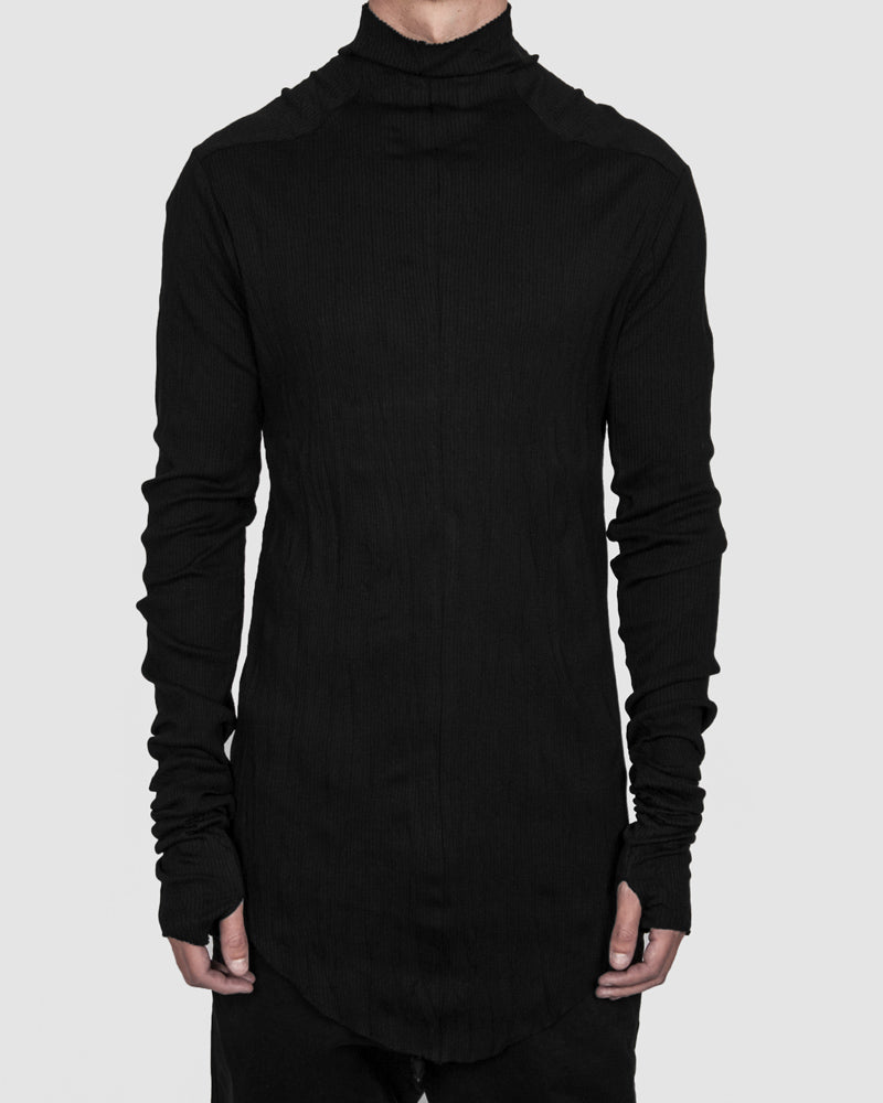 Army of me - Cotton rib high collar jersey crinkled black - Stilett.com