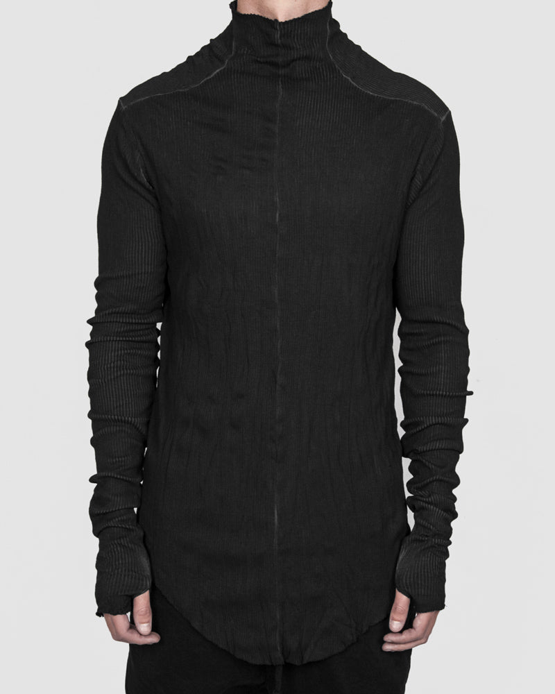 Army of me - Cotton rib high collar jersey crinkled graphite - Stilett