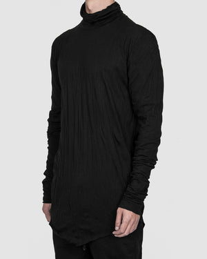 Army of me - High collar lightweight jersey crinkled black - https://stilett.com/