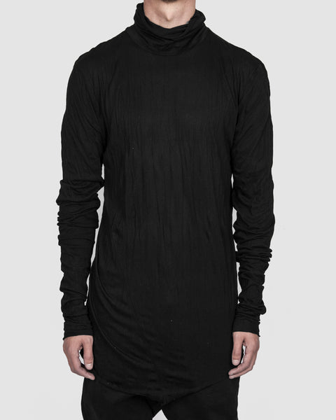 Army of me - High collar lightweight jersey crinkled black - Stilett.com