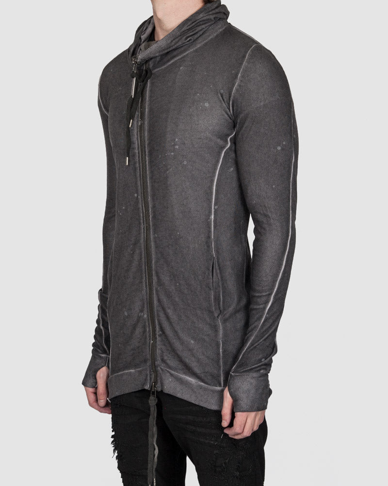 Army of me - Linen tencel zip up hooded sweatshirt anthracite - Stilett.com