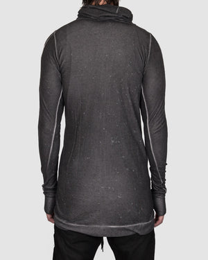 Army of me - Linen tencel zip up hooded sweatshirt anthracite - https://stilett.com/