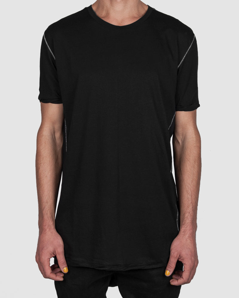 Regular fit scar stitched t-shirt black