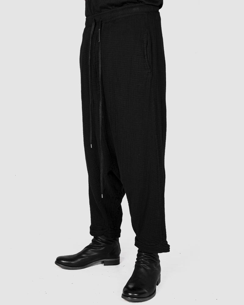 Structured cotton low crotch trousers black
