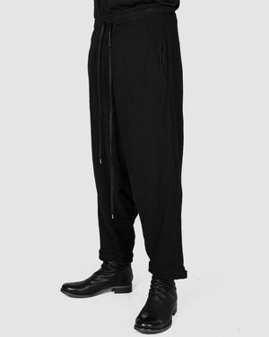 Army of me - Structured cotton low crotch trousers black - https://stilett.com/