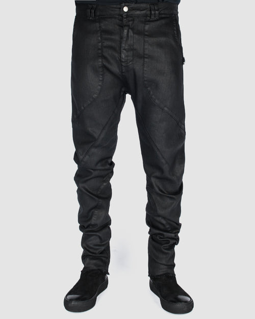 Waxed curve trouser