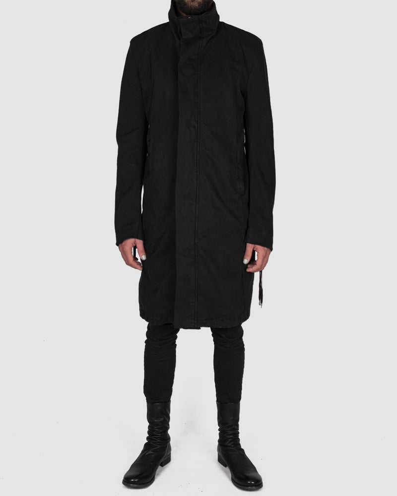 Zip up cotton coat black