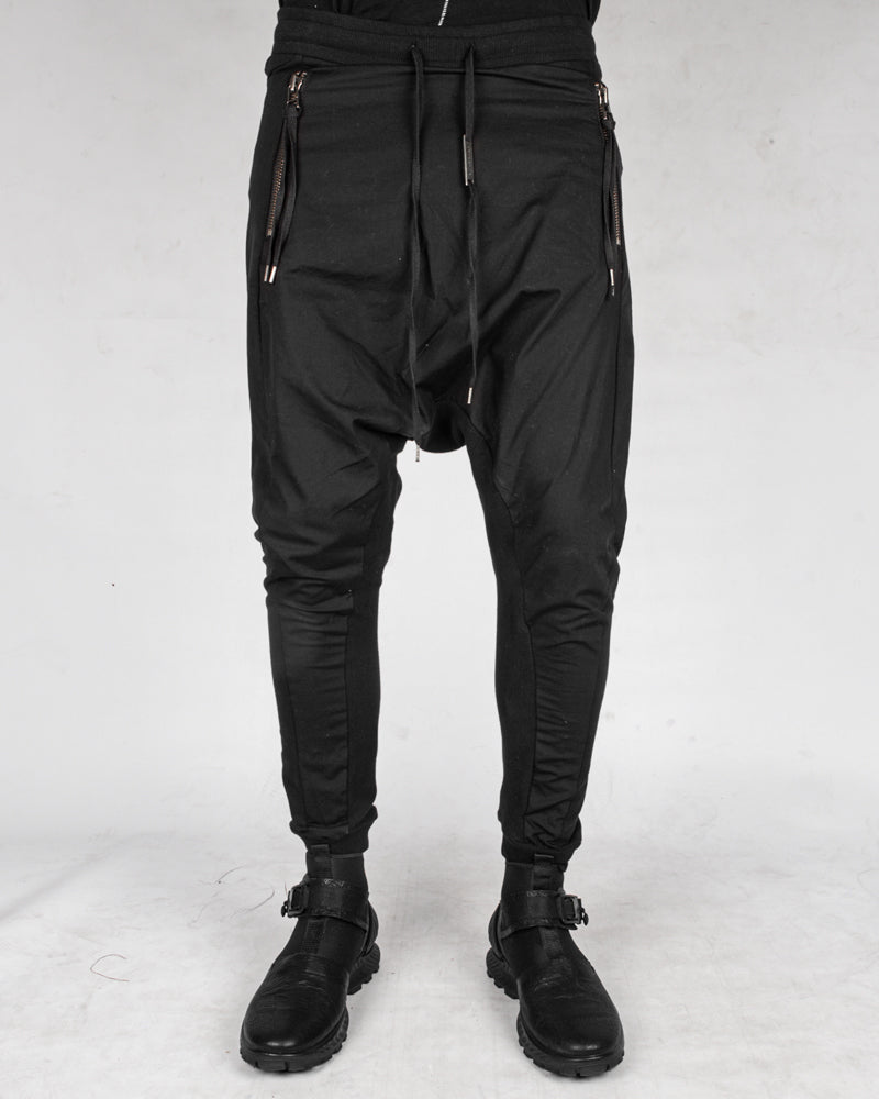 Contrasting woven jersey trousers black