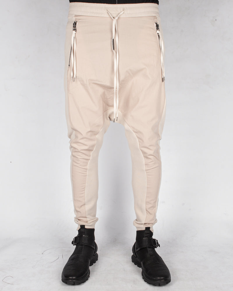 Contrasting woven jersey trousers sand