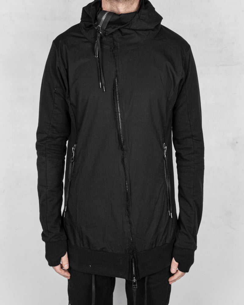 Contrasting zip up hooded sweatshirt black