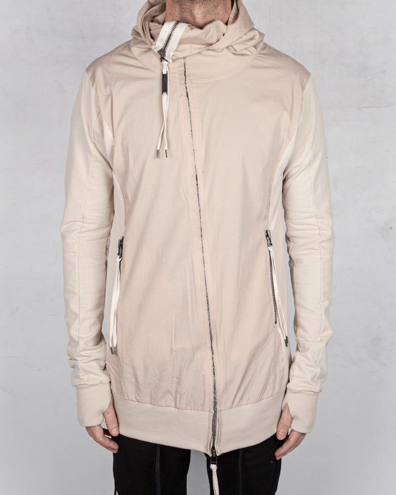 Contrasting zip up hooded sweatshirt sand