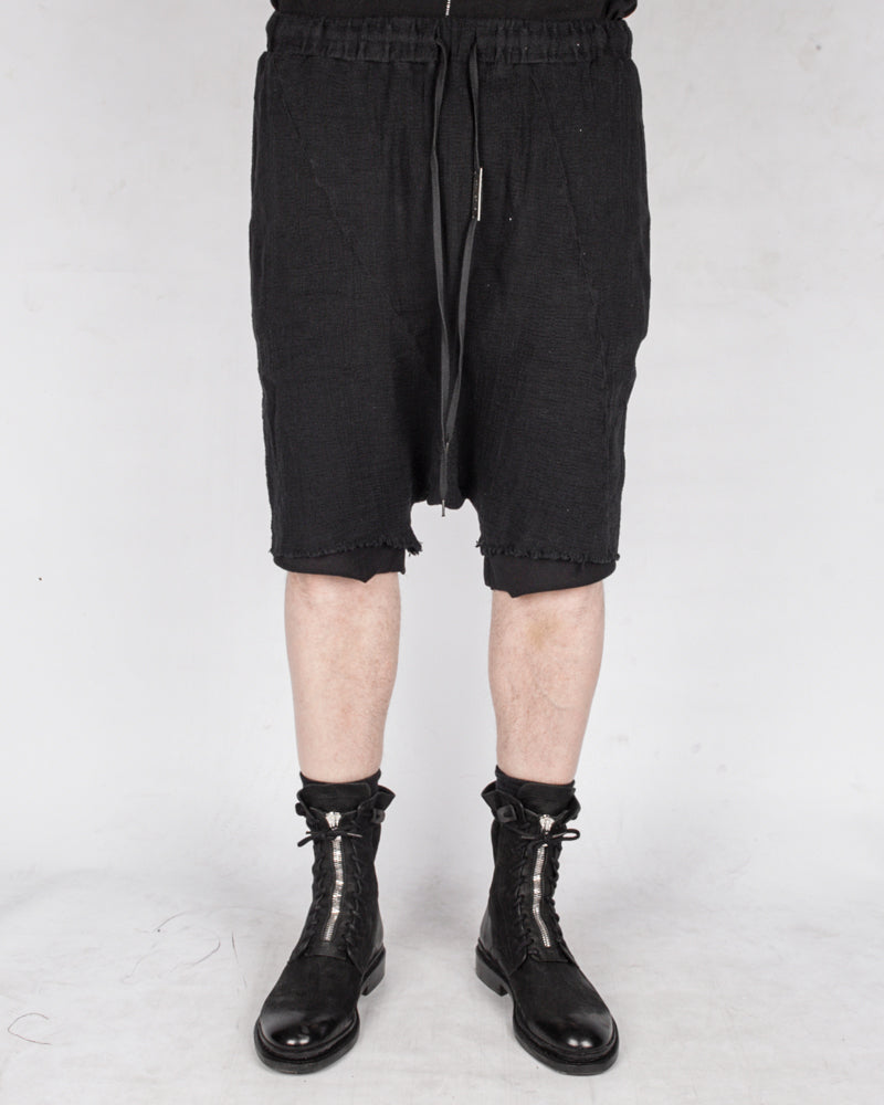 Double layered knitted linen shorts black
