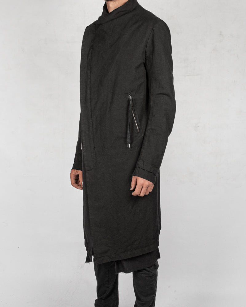 Army of me - Layered linen blend button up coat - Stilett.com