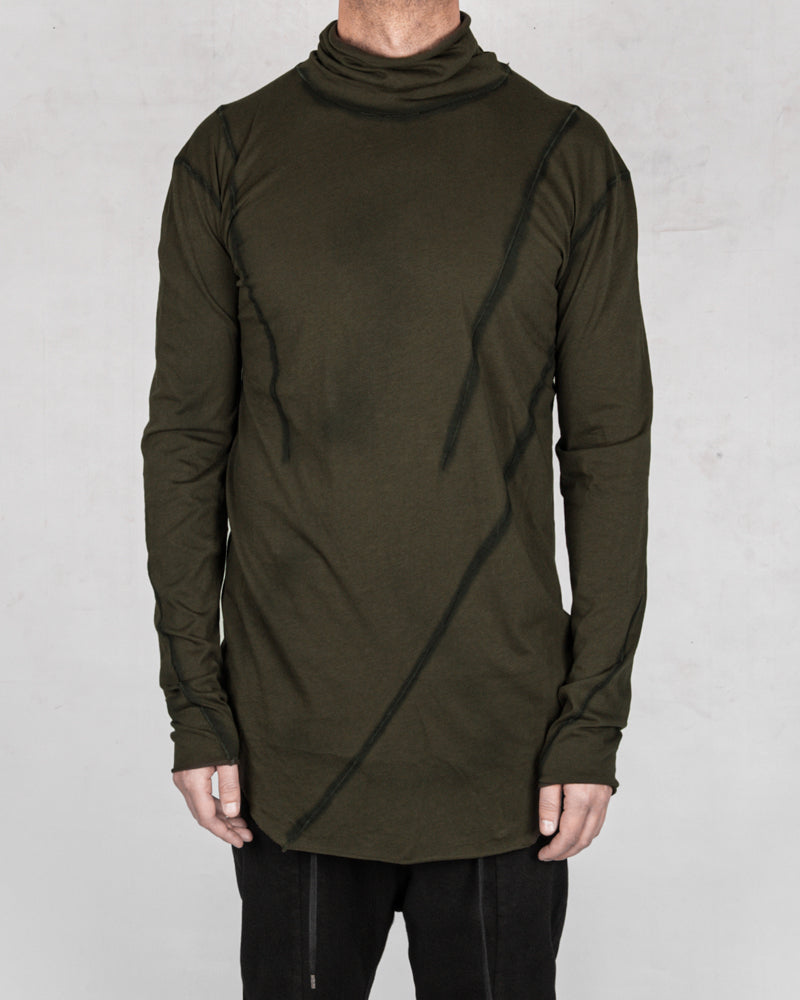 Army of me - Mittened turtle neck jersey moss - Stilett.com