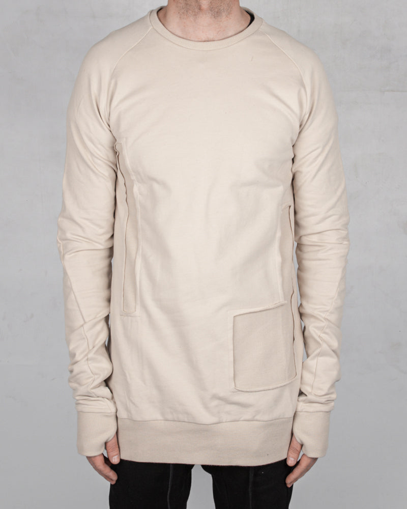 Patched sweatshirt sand