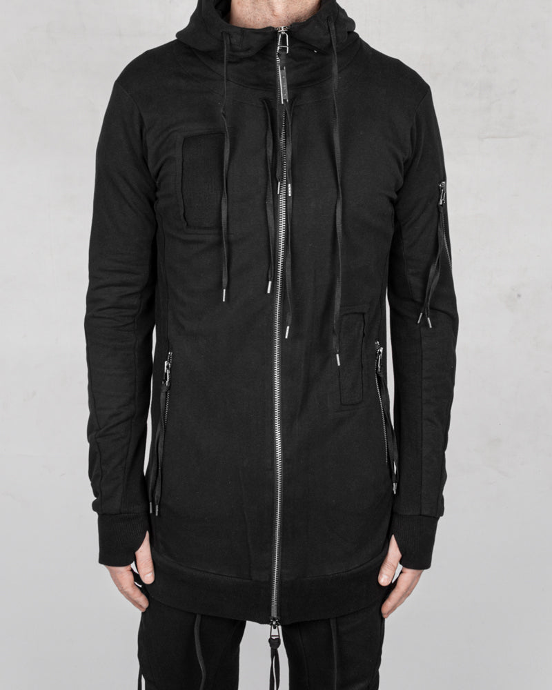 Patched zip up hooded sweatshirt black