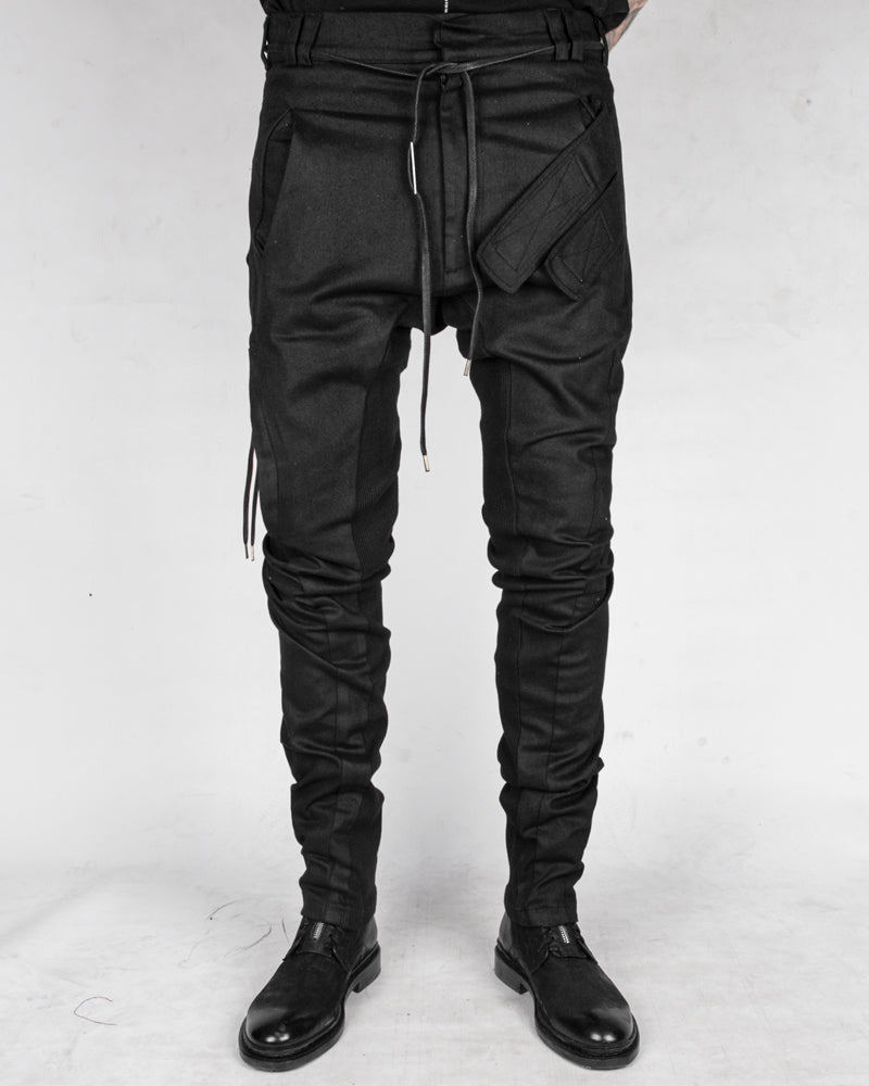 Slim coated velcro pocket trousers