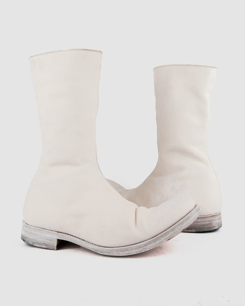 Atelier Aura - AAEB03 side zip tall boots - Ivory White - Stilett.com