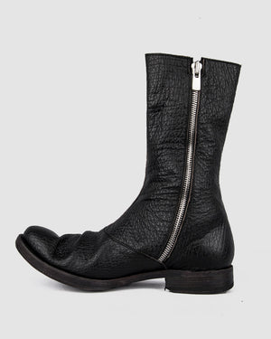 Atelier Aura - AAEB05 Shark leather side zip tall boots - https://stilett.com/
