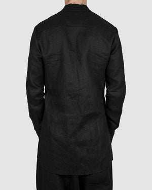 Atelier Aura - Einar mandarin collar shirt black - https://stilett.com/