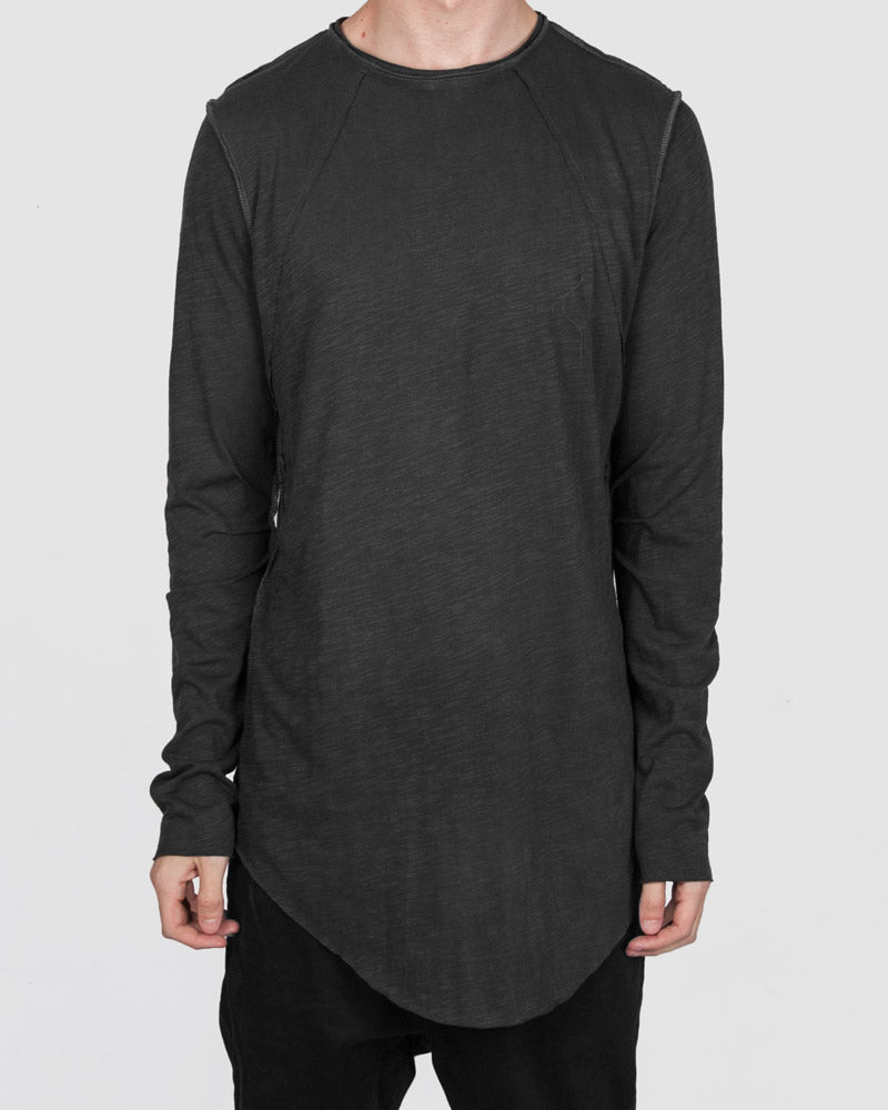 Atelier Aura - Ester reversed long sleeve tee - charcoal - Stilett.com