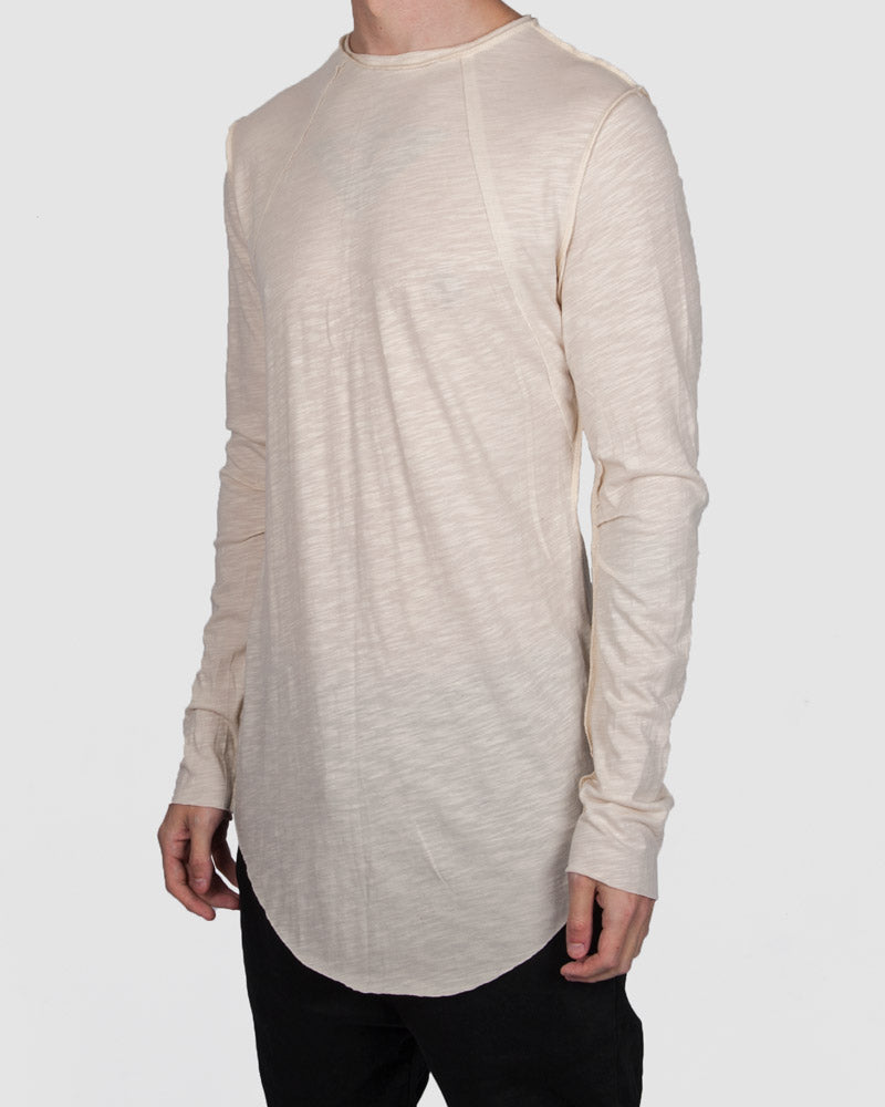 Atelier Aura - Ester reversed long sleeve tee - eggshell white - Stilett.com