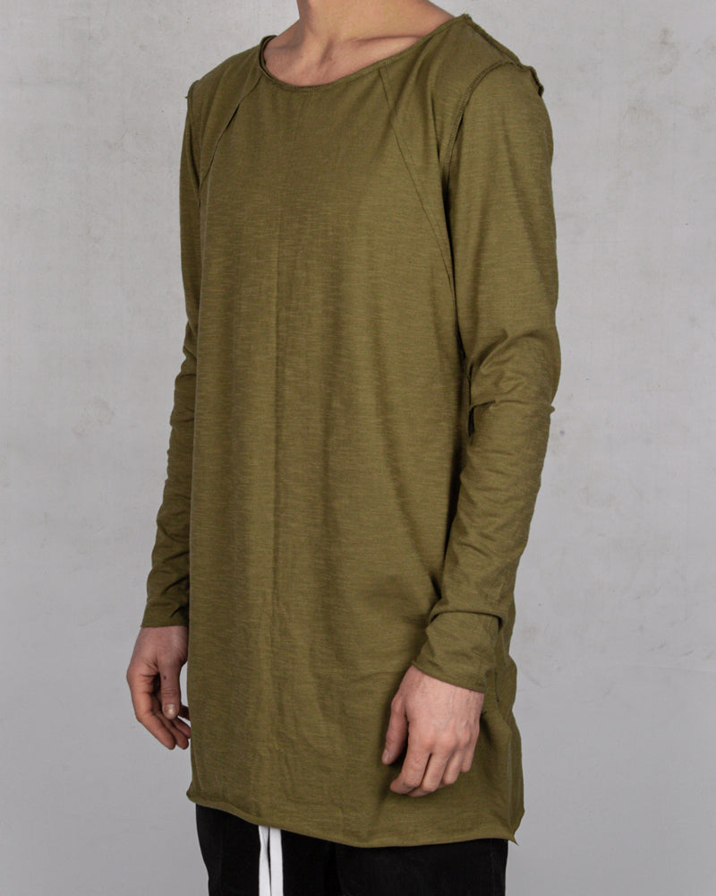 Atelier Aura - Ester reversed long sleeve tee green - Stilett.com