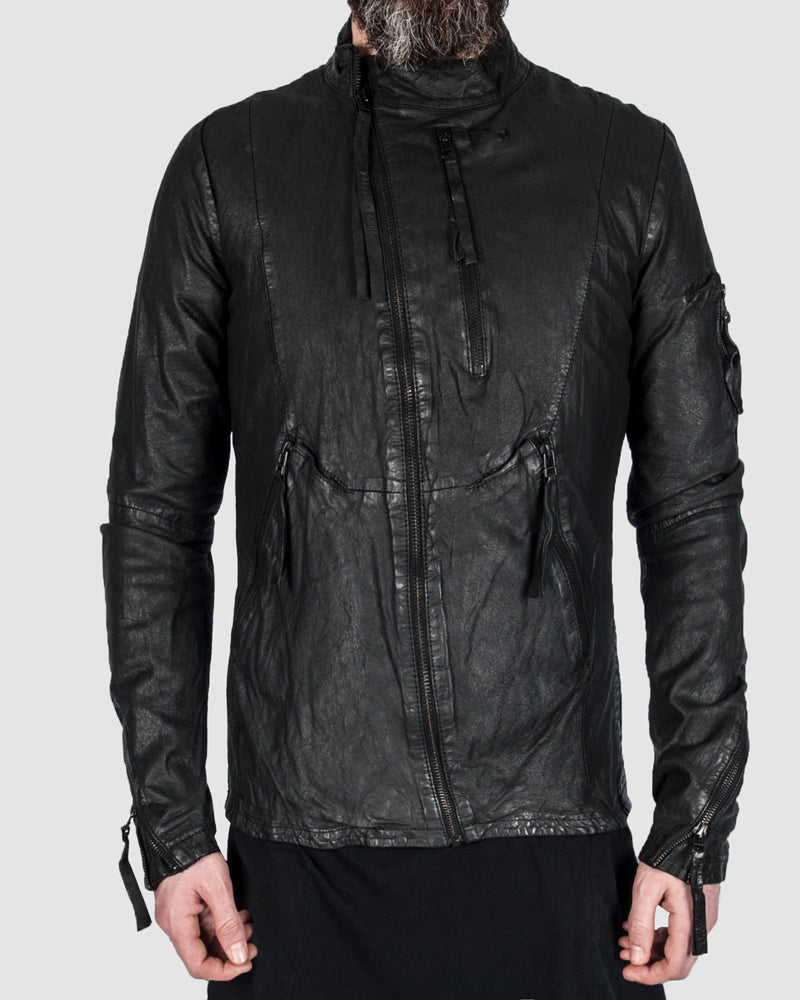 Barbara i gongini - Asymmetric zip leather jacket - Stilett.com