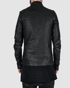 Barbara i gongini - Asymmetric zip leather jacket - https://stilett.com/