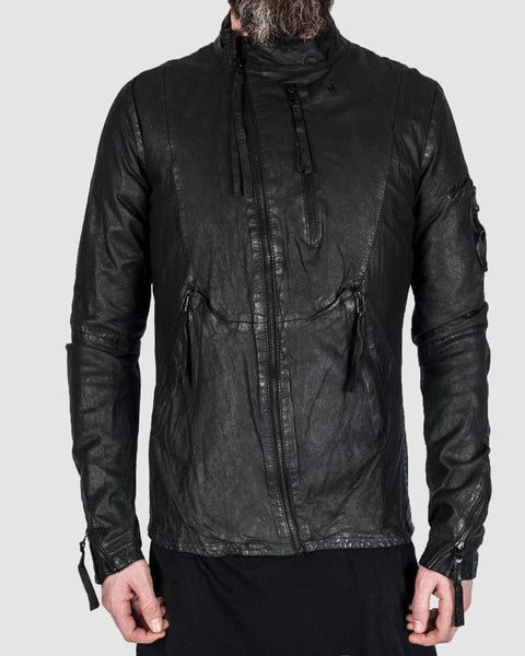 Barbara i gongini - Asymmetric zip leather jacket - Stilett