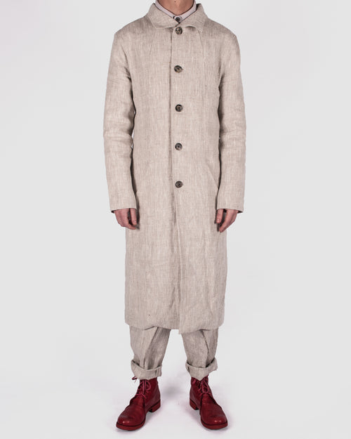 Atelier Aura - Lárus long coat, nature linen - Stilett.com